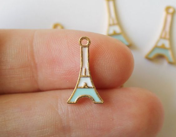 ON SALE Eiffel Tower Charms in Gold Pink Ivory by TheBlueBeadle
