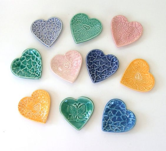 Set of Ten Hand Built Heart Shaped Ceramic by PotterybySumiko