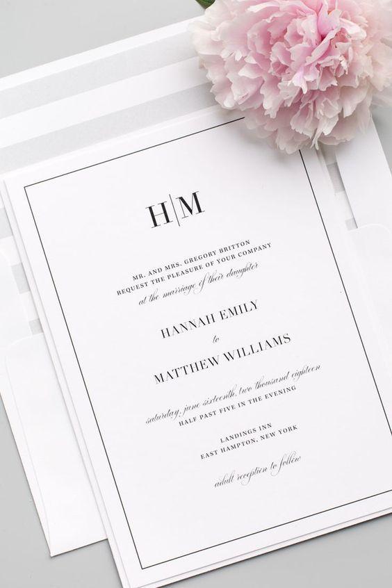 Classic Wedding Invitations Invitaciones De Boda Simples Invitaciones De Boda Invitaciones