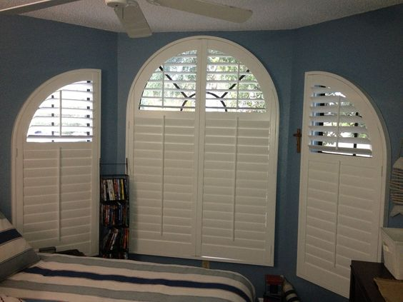 Curved Windows Can Be Covered With Custom Shutters To Fill