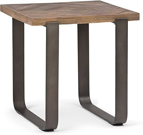 Buy Simpli Home Peyton Solid Aged Elm Wood Metal 20 Inch Wide Square Modern Industrial End Side Table Distressed Java Brown Wood Inlay Online Fancylookstar In 2020 Wood End Tables
