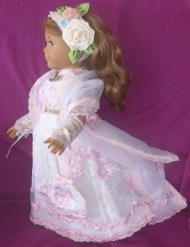 """Pretty In Pink Regency Jane Austen Era Dress Corset Fits American Girl Doll 18"""""""