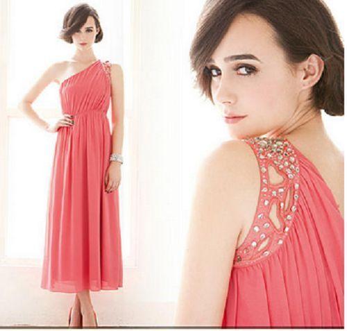 Formal Chiffon One Shoulder Beaded Coral Dress Size Medium Free Fast SHIP   eBay