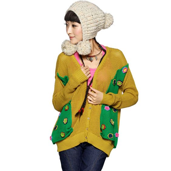 #Swanmarks (Chinese Style) Liebo New Autumn False Two-piece Splicing Joint Cardigan Sweater