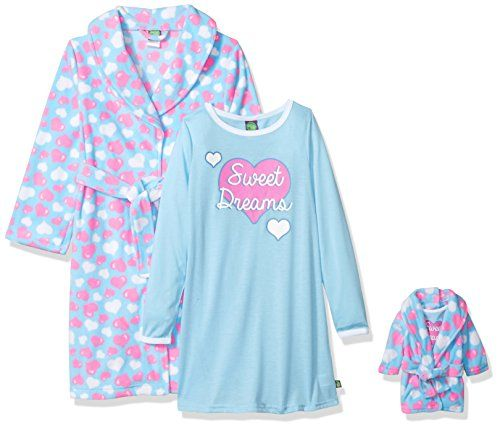 Doll Clothes-Star Print Flannel Robe /& Matching Gown