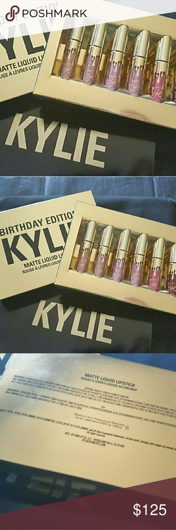 KYLIE | MATTE MINI LIP KIT SOLD OUT ON KYLIE'S WEBSITE  NEVER TO BE RELEASED AGAIN  💥💥 MAKE AN OFFER 💥💥  🚫 LOWBALLS 🚫 NO TRADES 🚫 NO HOLDS 🚫  Matte lipstick | Mini Kit  Contains: 6 Mini Matte Liquid Lipstick (6 X 0.02 fl oz./oz. liq / 0.65 ml)  The #KylieCosmetics Matte Lipstick Mini Kit is the perfect way to take your favorite matte lipstick to go. Each kit comes with 6 mini sizes of Kylie's favorite shades packaged in special limited edition gold packaging in honor of Kylie's 19th…