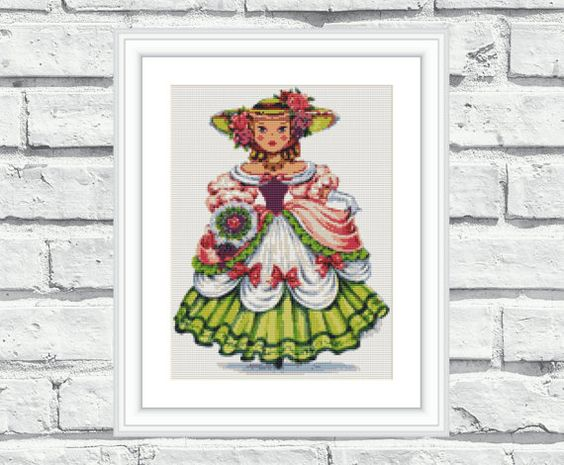 """Elegant, colourful, modern, vibrant and cheerful counted cross stitch pattern """"English Doll"""". These patterns look especially attractive when viewed from a distance and so easy to stitch! Perfect for modern interiors and any room in your home including living rooms, kids rooms and bedrooms. 6,99$"""