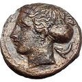 Syracuse in Sicily 415BC SECOND DEMOCRACY Nymph Dolphins Greek Coin i49188