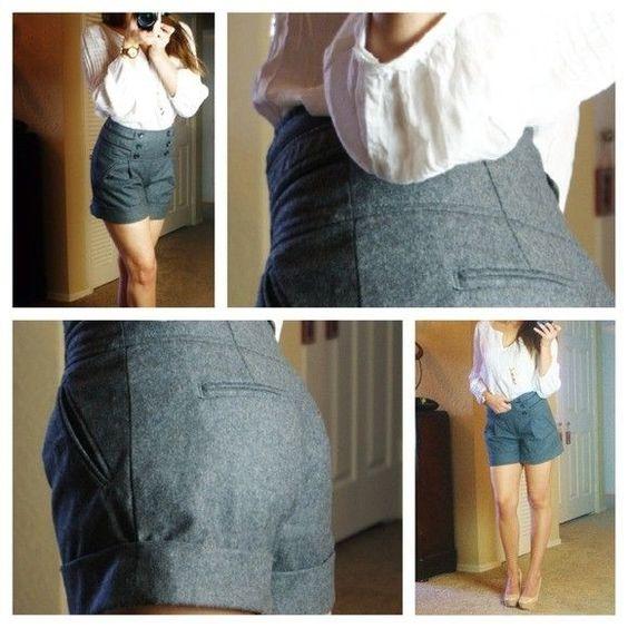 NWT $78 ANTHROPOLOGIE Cidra High Waisted lined wool dress Shorts 4/6