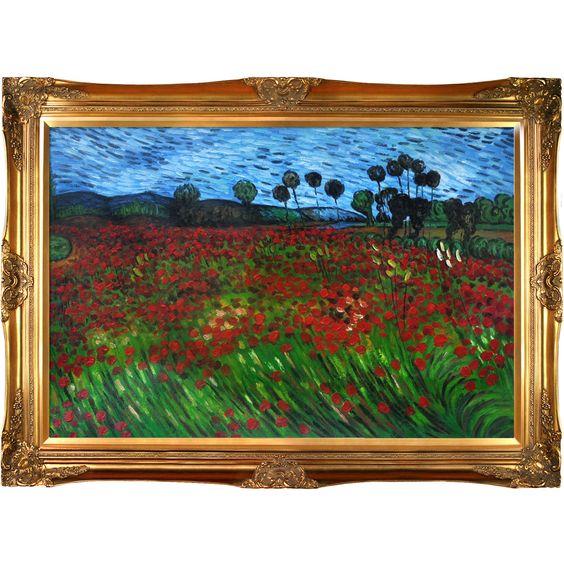 Field of Poppies Van Gogh Framed Original Painting | Wayfair