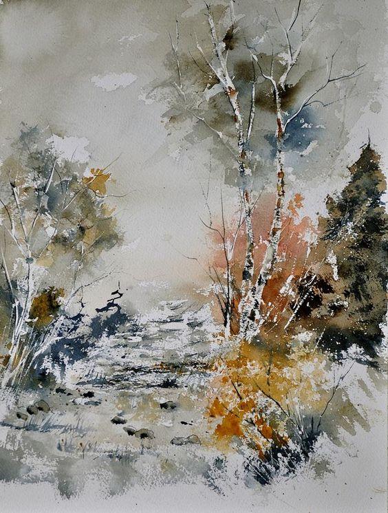 Landscape Painting - Watercolor 412141 by Pol Ledent