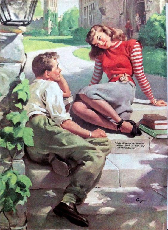Vintage couple #vintage #illustration #lovers #romance