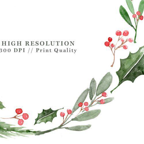Watercolor Christmas Wreath Clipart Christmas Card Templates 5x7 A4 Christmas Watercolor Christmas Wreath Clipart Watercolor Christmas Cards
