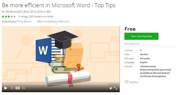 Coupon Udemy - Be more efficient in Microsoft Word - Top Tips - microsoft word coupon