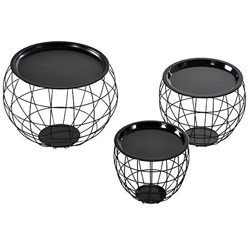 Homcom Lot De 3 Tables Basses Gigognes Tables D Appoint Rondes Encastrables Style Neo Retro Metal Noi En 2020 Table Basse Gigogne Table D Appoint Ronde Table D Appoint