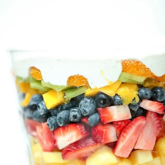 Layered Summer Fruit Salad with Lime Cheesecake Dressing