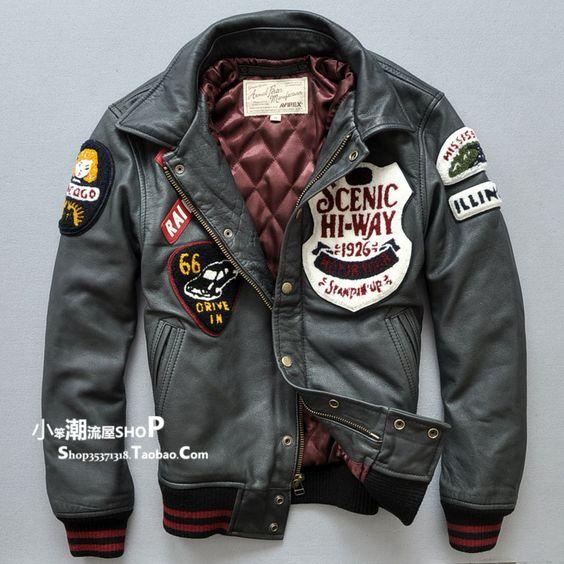 Avirex grey leather bomber jacket … | Pinteres…