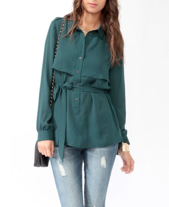 Belted High-Low Shirt | LOVE21 - 2083315530