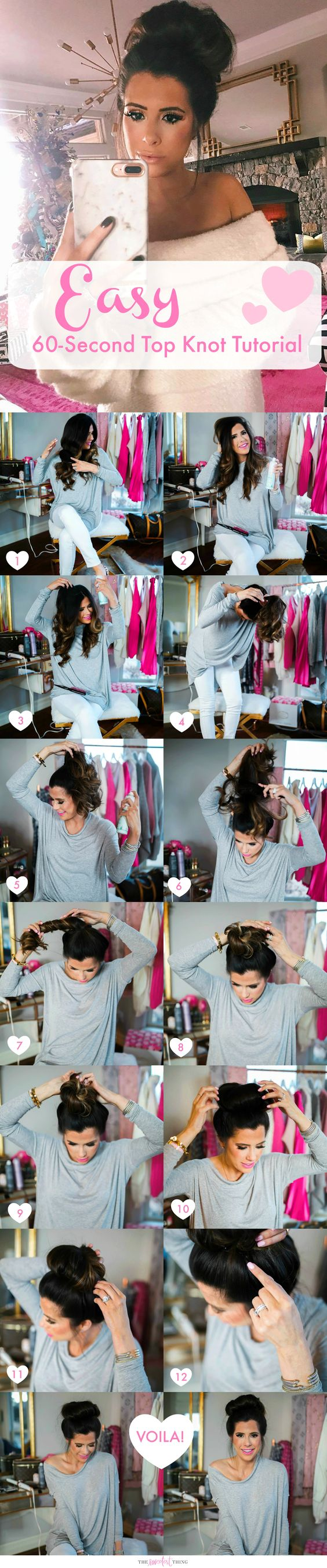 I think so many outfits are made cuter with a messy (or neat) top bun/knot. I prefer mine to be a little undone but too crazy! Also, I usually only wear a bun when my hair already has curl in it – I use THIS curling iron to curl my hair on a regular basis. The Sweetest Thing.