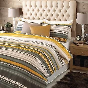 Superb Warm 100 Brushed Cotton Yellow Grey Duvet Set 4 Sizes Grey Duvet Set Duvet Bedding Sets Duvet Sets