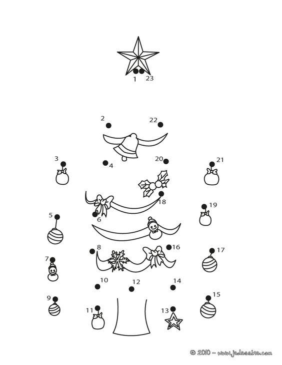 Le sapin de Noël décoré - Points à relier Noël