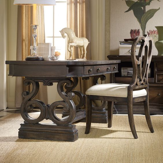 Hooker Furniture Davalle Writing Desk - Make the Hooker Furniture Davalle Writing Desk the center of attention in any room. This beautiful piece offers ample inspiration with a solid wood co...