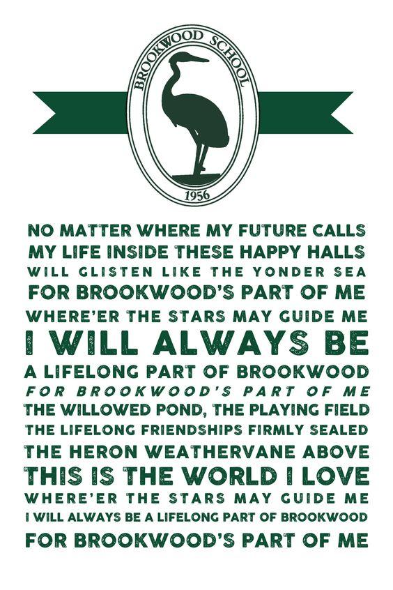 Brookwood School Song Print