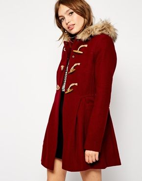 Image 1 of ASOS Faux Fur Hooded Duffle Coat | Winter Inspiration