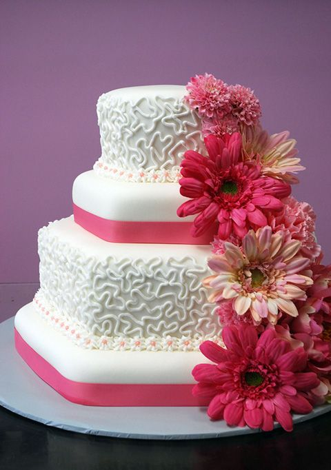 Pink blue, Gerber daisies and Birthday cakes on Pinterest