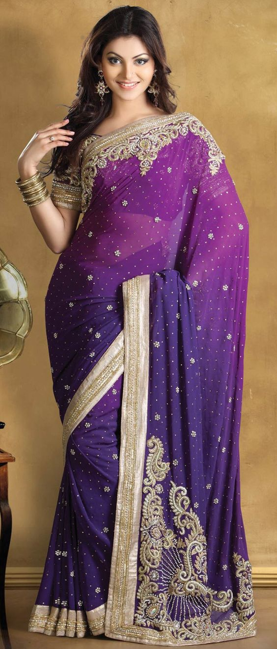 Shaded #Purple Pure Georgette #Saree With Blouse @ $536.20