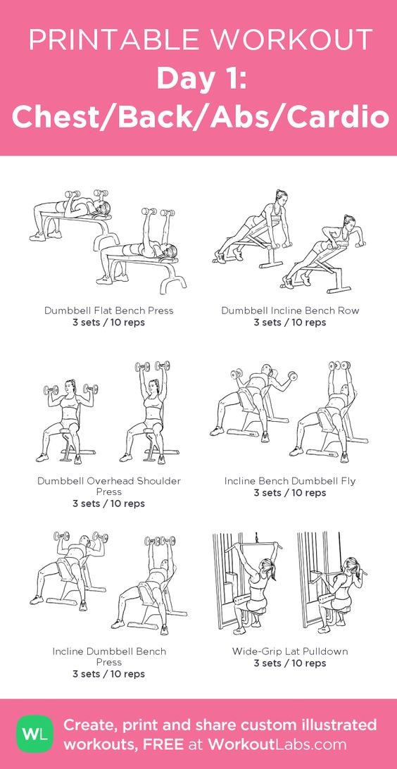 Day 1: Chest/Back/Abs/Cardio:my visual workout created at WorkoutLabs.com…