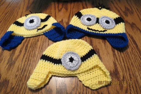 Baby/toddler minion hats, each hat made of 4 ply acrylic