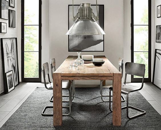 Beautiful lamp!: Dining Rooms, Restoration Hardware, Rustic Table, Diningroom, Wood Tables, Metal Schoolhouse, Dining Tables, Wooden Table