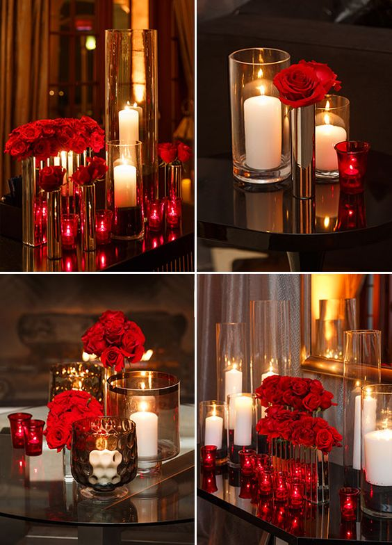 You can find beautiful red roses and candles arrangements everywhere at this glamorous red dinner.: