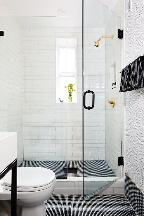 Black And White Shower Designed With Mini Black Penny Floor Tiles And White Subway Wall Ti Black Tile Bathrooms Penny Tiles Bathroom Penny Tiles Bathroom Floor