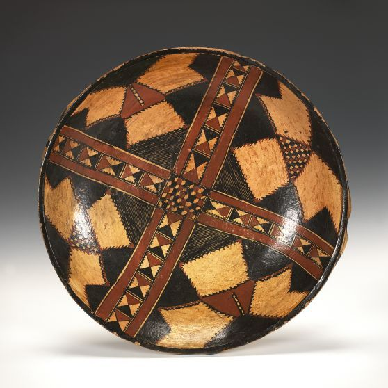 Large Kabylie Ceramic Dish Kabylie Berber People Algeria Late 19th to early 20th century Hand molded ceramic, painted designs