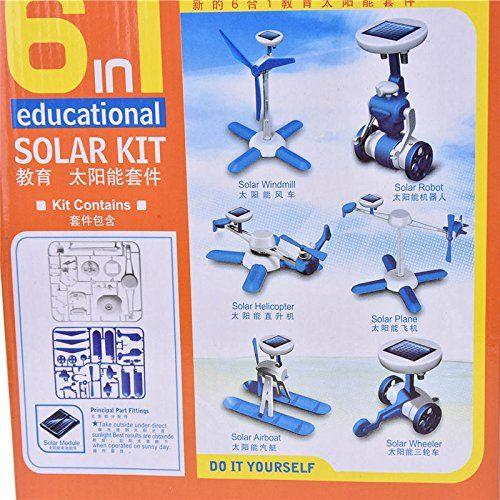 6 in 1 Creative DIY Educational Learning Power Solar Robot Kit Children Toy New