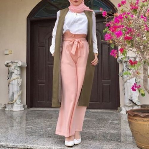 Bow palazzo pants-Spring breathy hijab outfits – Just Trendy Girls
