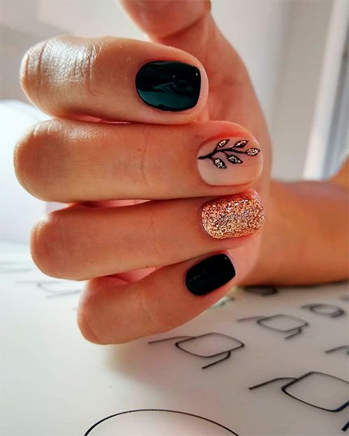 So Cute Short Acrylic Nails Ideas You Will Love Them Short Acrylic Nails Black Nail Designs Black Nails With Glitter