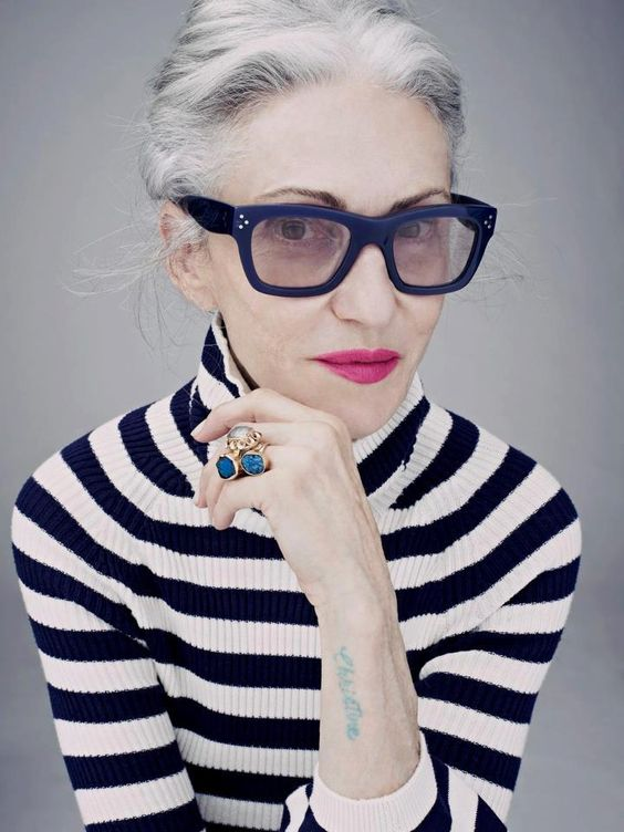 """Linda Rodin-In her sixties today, Rodin is the model of spare elegance. She says of herself, """"I really don't spend too much time getting ready! I like to be out the door in no time."""":"""