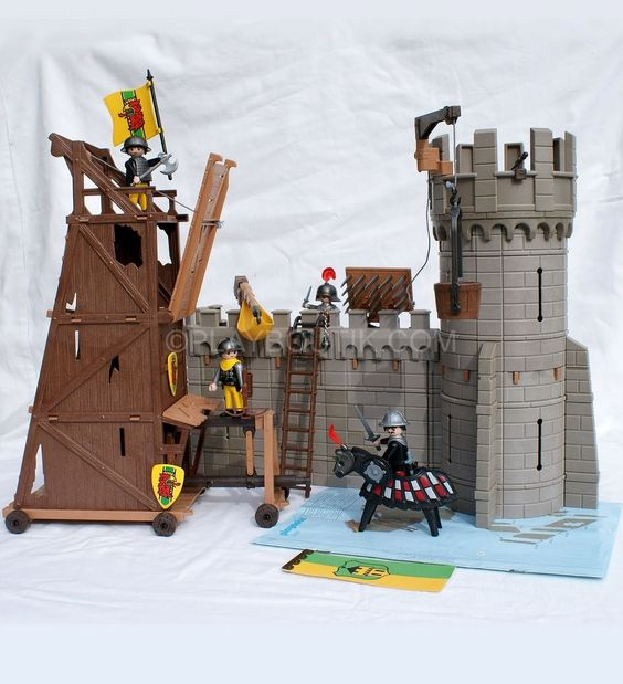 Playmobil chevalier ch teau fort et tour d assaut 3123 for Plan chateau fort playmobil