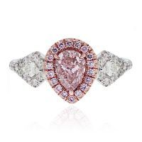 18k White/Rose Gold GIA 1.01ct Pink Pear Shape Diamond Engagement Ring