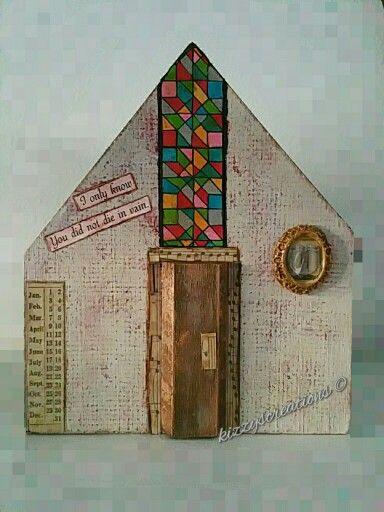 Mixed Media Wooden Houses Old World Church #handmade #mixedmedia #timholtz #rangerink