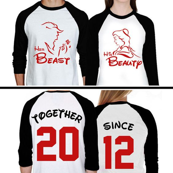 Beauty The Beast Couples Raglan Shirts Beauty and The Beast Matching... ($43) ❤ liked on Polyvore featuring tops, baseball shirts, raglan sleeve baseball shirt, white shirt, raglan sleeve shirts and white top: