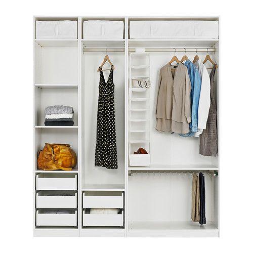 POÄNG Footstool, blackbrown, Isunda gray Pax wardrobe