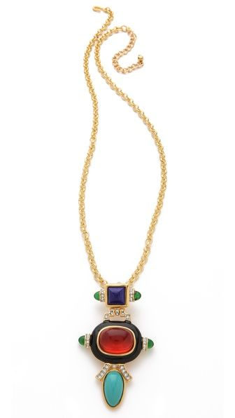 Kenneth Jay Lane Deco Pendant Necklace