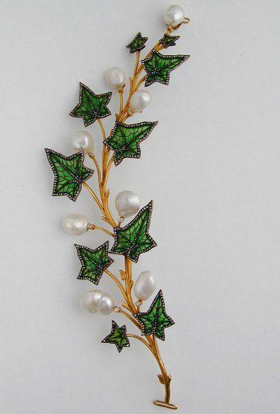 An Art Nouveau Enamel, Diamond and Pearl Ivy Leaf Tiara/Corsage Brooch by ART NOUVEAU : The British Antique Dealers' Association