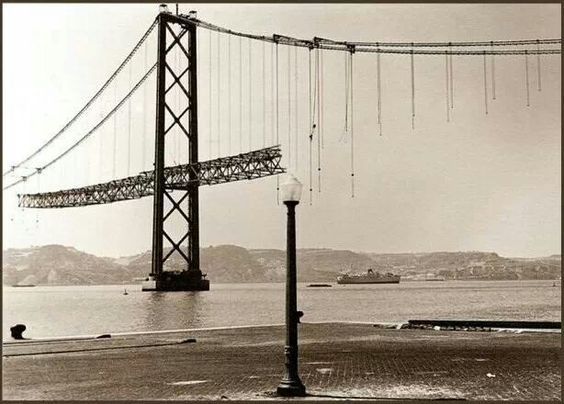 'António Oliveira Salazar' Bridge in Construction, Lisboa c.1963, renamed '25 de…