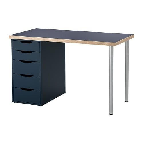 Linnmon Alex Table Black Blue Gray 47 1 4x23 5 8 Ikea Ikea Store Drawer Unit