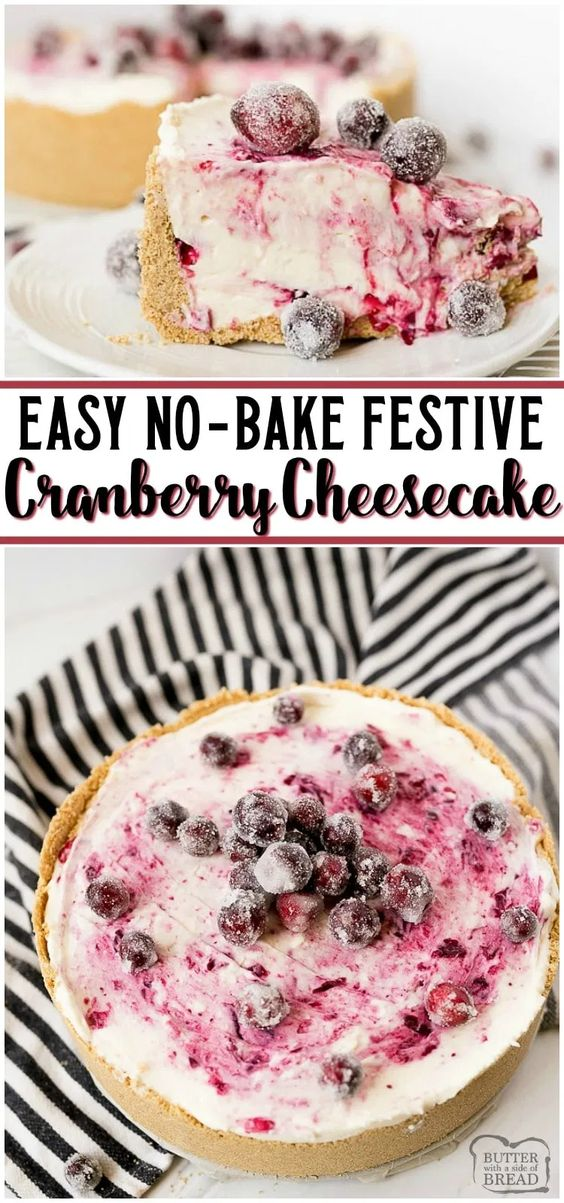 No-Bake Cranberry Cheesecake Dessert